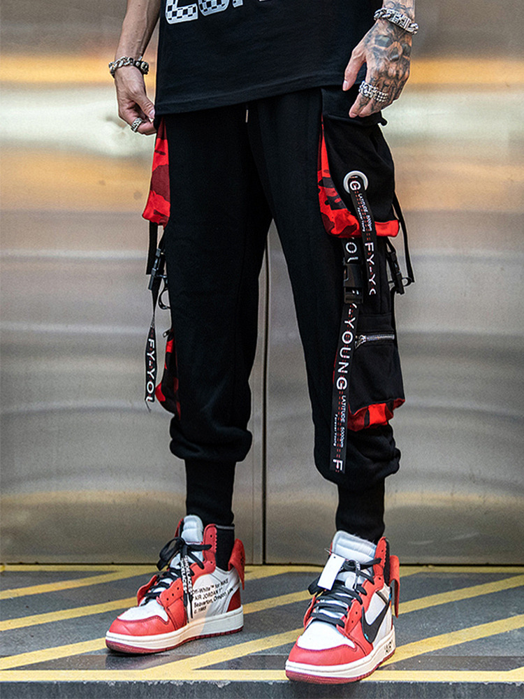 Trousers Men's Popular Brand Four Seasons Capri Pants Function Camouflage Joint Side Edge Pocket Beam Leg Closing Cone Bib Overa