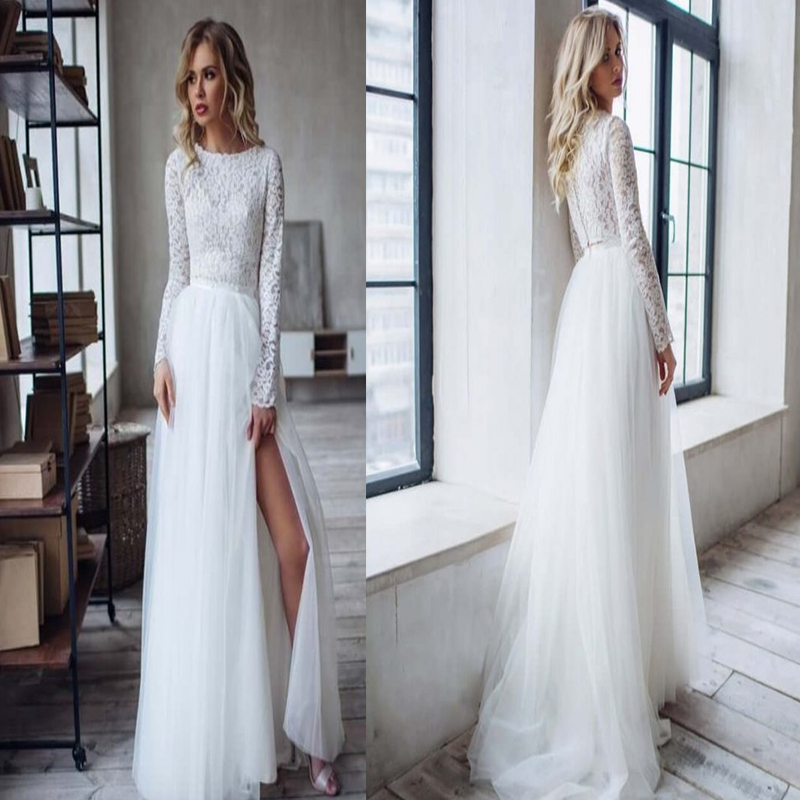 Boho Wedding Dress With Sleeves 2020  Side Slit Bohemian Beach Bridal Gowns Gorgeous Charming For Women Brides Floor Length
