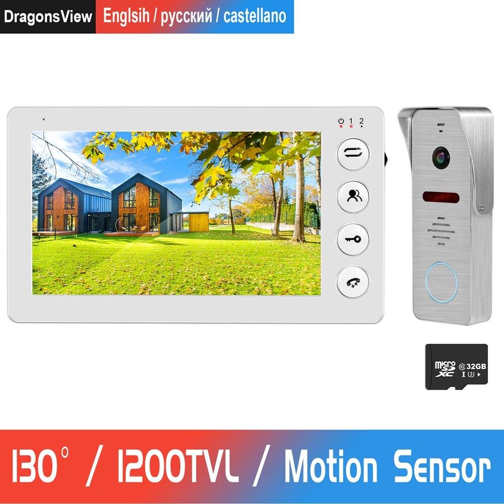Timbre de puerta con vídeo y Sensor de movimiento, portero automático para hogar, Monitor HD de 7 pulgadas con visión nocturna IR, cámara con Sensor de movimiento