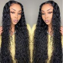 Парик Water Wave, прозрачные кружевные парики, 28 дюймов, длинные, Т-образные, бразильские, влажные и волнистые, вьющиеся, волнистые, на сетке, пере...