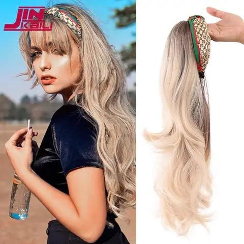 JINKAILI Long Deep Wave Headband Wigs Heat Resistant Synthetic Lolita Wig New Fashion  Hair Band Wig  For Black Women