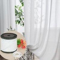 Kurşun keten ağırlığı alt süper yumuşak şifon kar saf beyaz pencere tül perdeler oturma odası için şeffaf vual yatak odası peçe