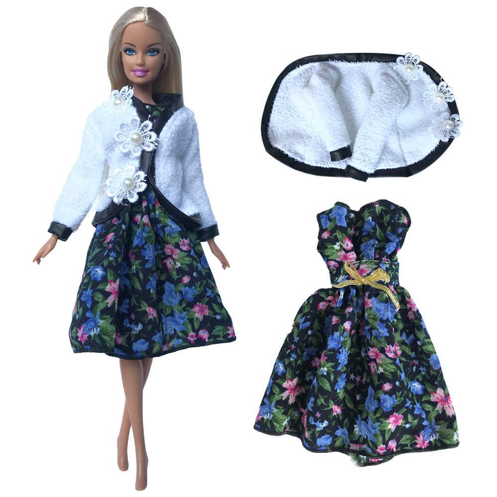 Nk 1 vestido de festa para barbie, mini vestido, moda adorável, estampa de flores, saia de festa de casamento, roupas diárias brinquedo jj