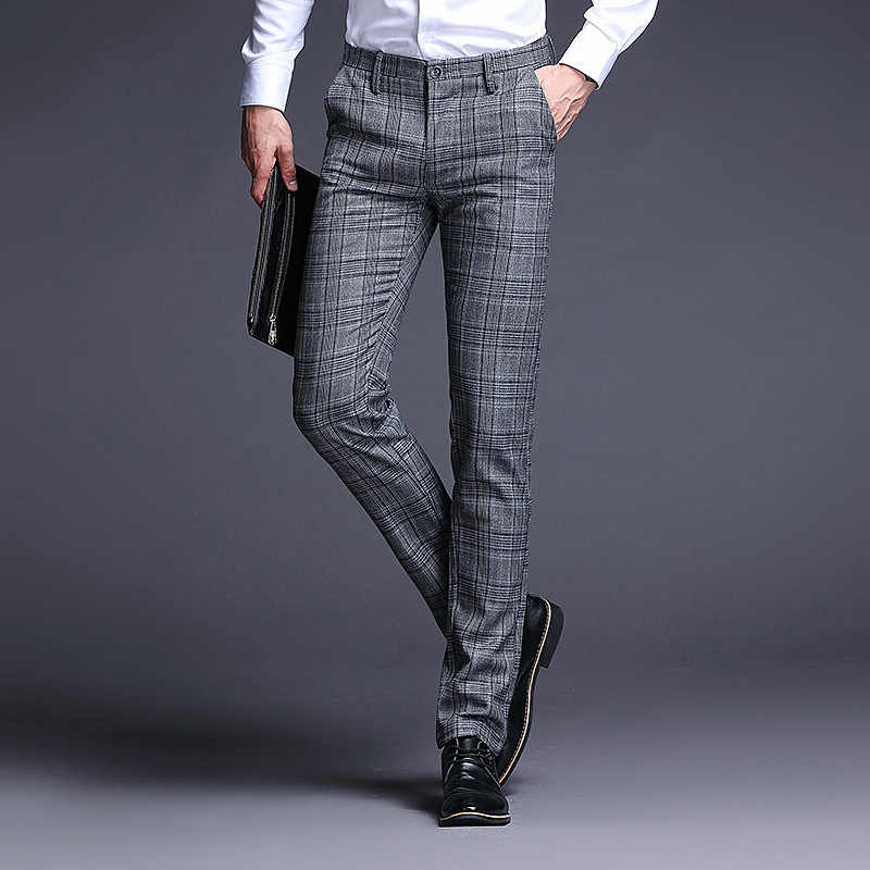Fashion Mens Spring Autumn Dress Pants Striped Plaid Formal Pants Slim Fit Suit Pants Business Casual  Wedding Long Trousers