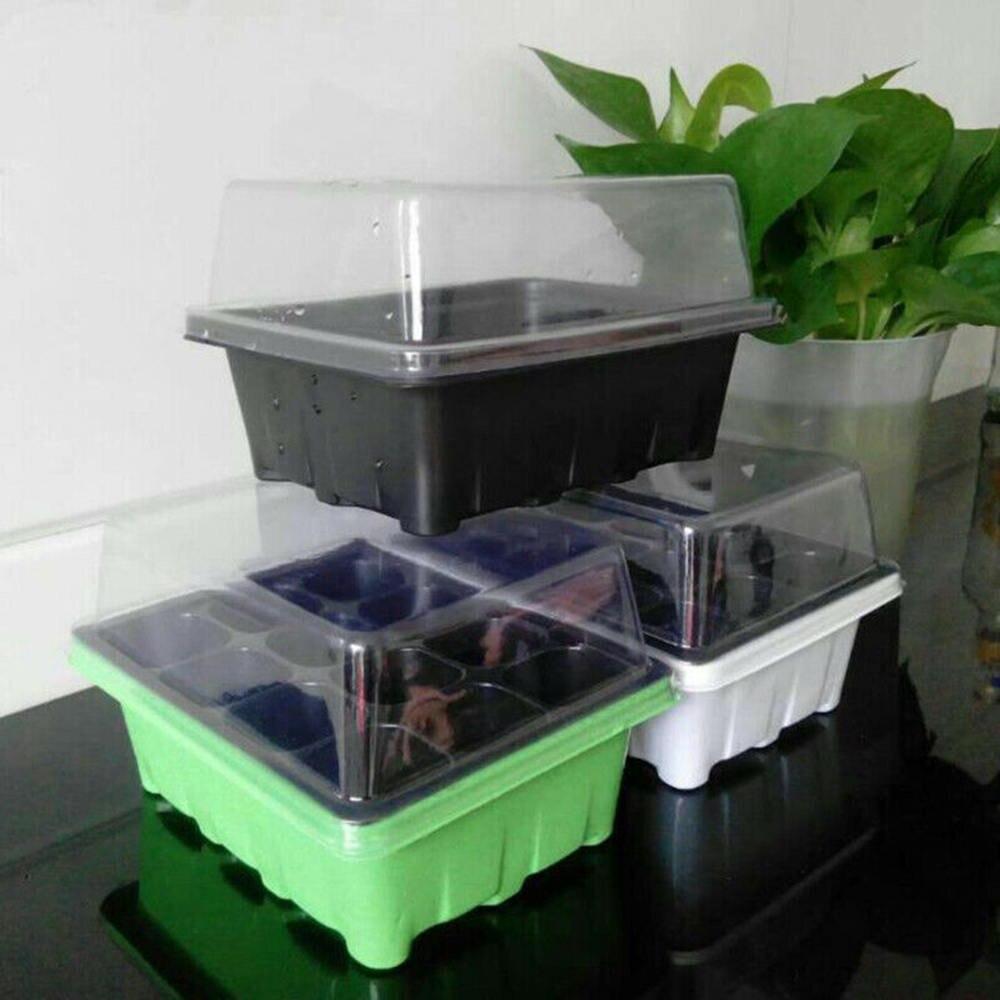 12 células bandeja de inicio de plántulas semillas germinación plantas de expansión caja de crecimiento jardín macetas suministros Bandeja de jardín de semillas de Hidroponia bandeja de semillero de doble capa