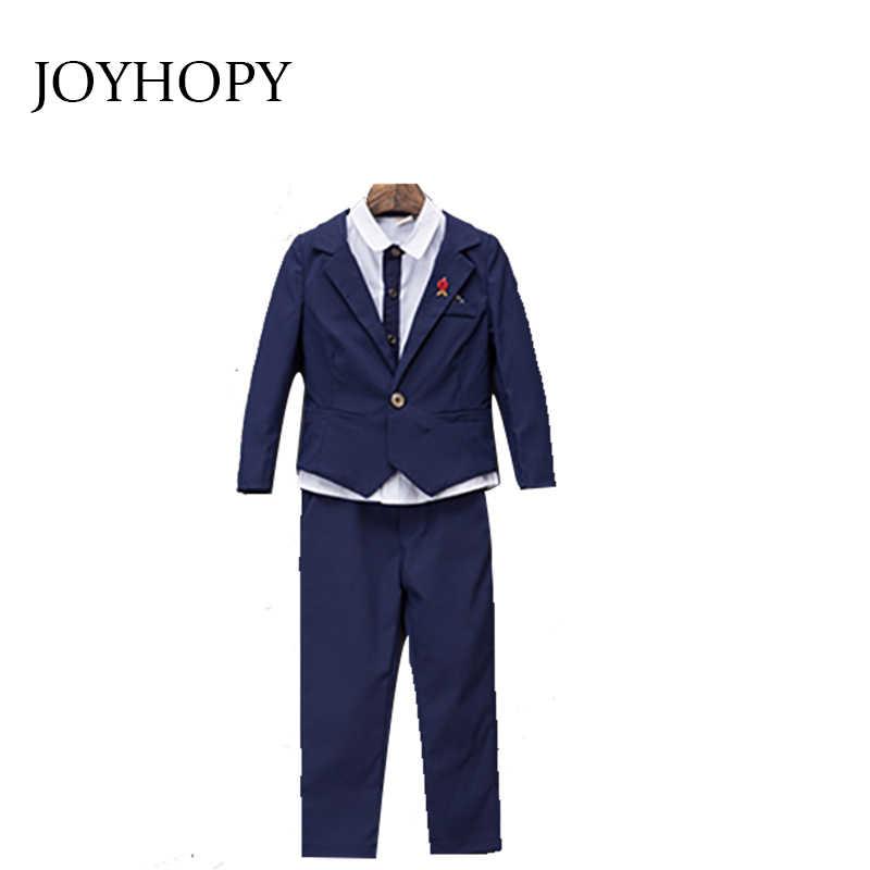 Blauw/rood Kinderen Pak Grote Jongens Pakken Kids Blazer Jongens mode Pak Voor Bruiloft Jongens Kleding Jassen Blazer + broek + shirt 3-10Y