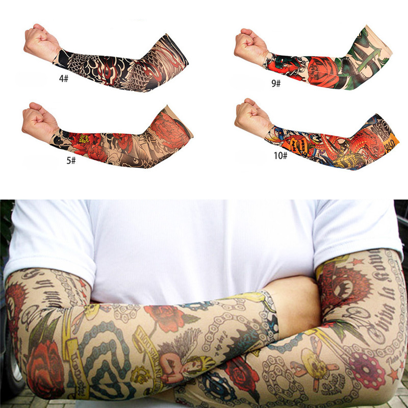 1 PCS Outdoor Driving Cycling 3D Tattoo Sleeve Men Women Mountain Climbing Camping Play Golf UV Protection Nylon Stretchy Arm