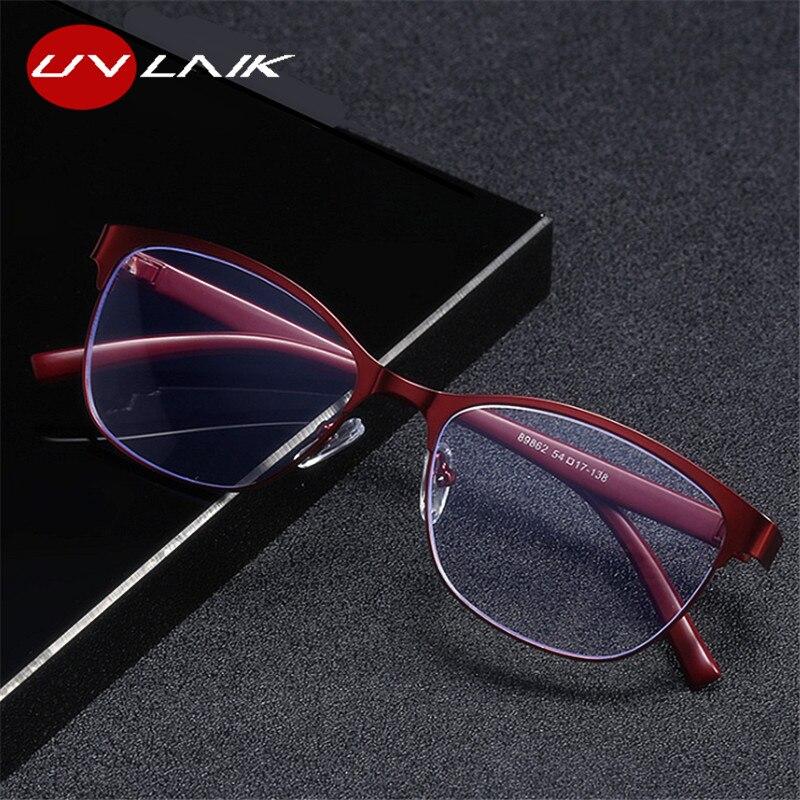 UVLAIK Для женщин Нержавеющаясталь кошачьи очки для чтения Ретро пресбиопические очки анти-голубой светильник для родителей, очки