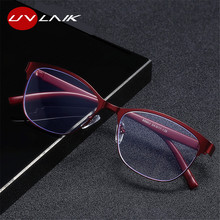 UVLAIK Women Stainless Steel Cateye Reading Glasses Retro Presbyopic Eyeglasses Anti Blue Light For Parents Glasses