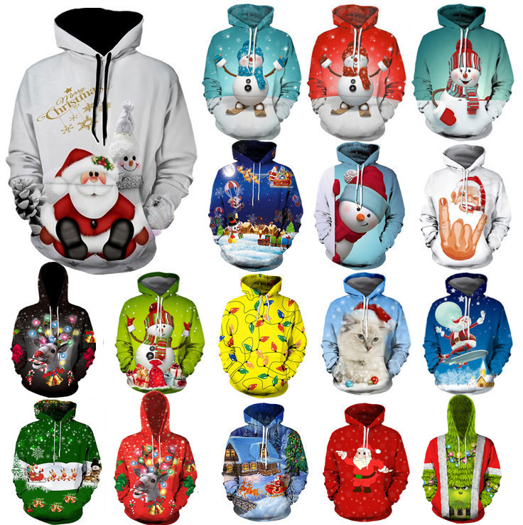 2019 Fashion Ugly Christmas Sweater Women Christmas Sweater Santa Claus Large Size Ugly Novelty Snowman 3D Sweater Hooded Sweate