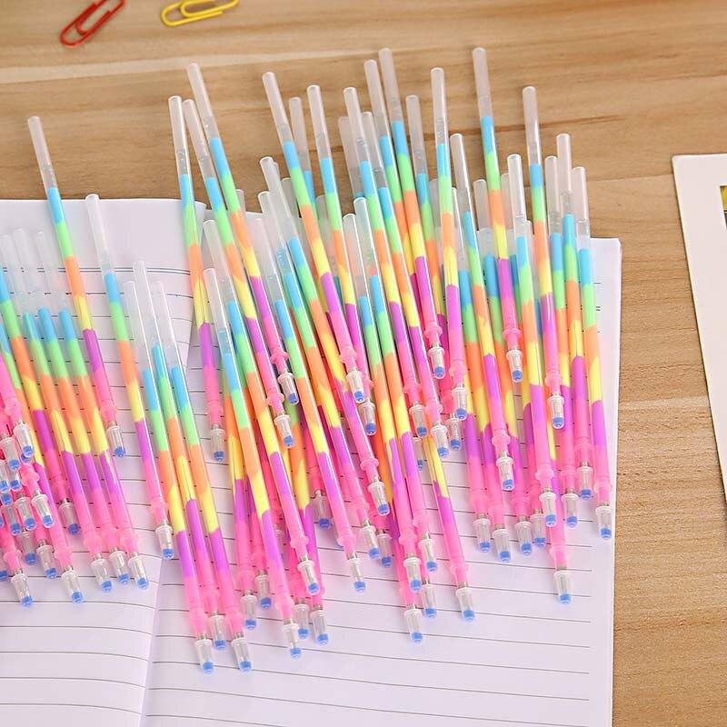 100 шт. новая Радужная разноцветная Ручка для воды, флуоресцентная ручка, многоцветная ручка с сердечником, школьные принадлежности Kawaii