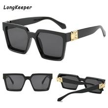 Vintage Oversized Square Sunglasses Women Brand Designer Luxury Retro Black Fram
