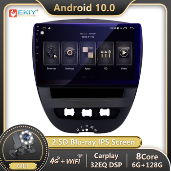 EKIY DSP 6G 128G Android Autoradio For Toyota Aygo for Citroen C1 for Peugeot 107 Car Radio Multimedia Player GPS Navigation DVD image
