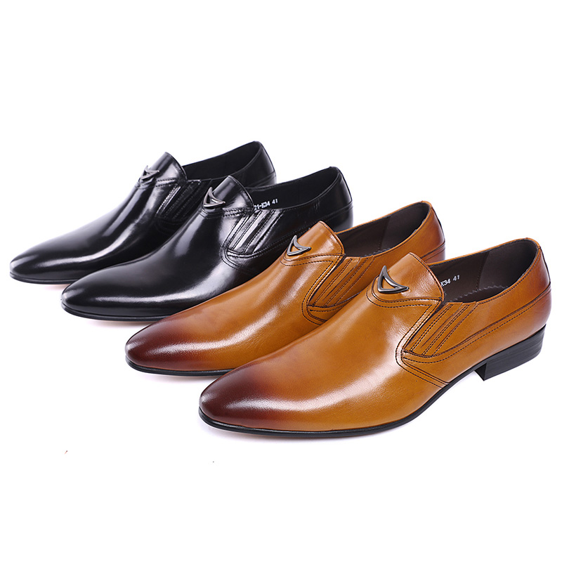 Image 2 - FELIX CHU Italian Style Black Yellow Genuine Leather Men Loafer  Slip On Formal Shoes Wedding Party Pointed Toe Male Dress Shoeslip  onslip on loafersslip on men