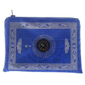 Image 5 - Мусульманский молитвенный коврик, переносные плетеные коврики из полиэстера, простой принт с компасом в сумке, новый стильный Дорожный Коврик для дома, Одеяло 100*60 см