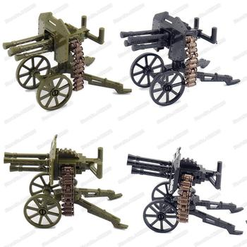Military Soldier High Shot Heavy Machine Gun Assembly Figures WW2 Building Block Assemble Army Weapons Model Christmas Gift Toys military figures maxine heavy machine gun weapons building block equipment diy ww2 army battlefield model moc christmas gift toy