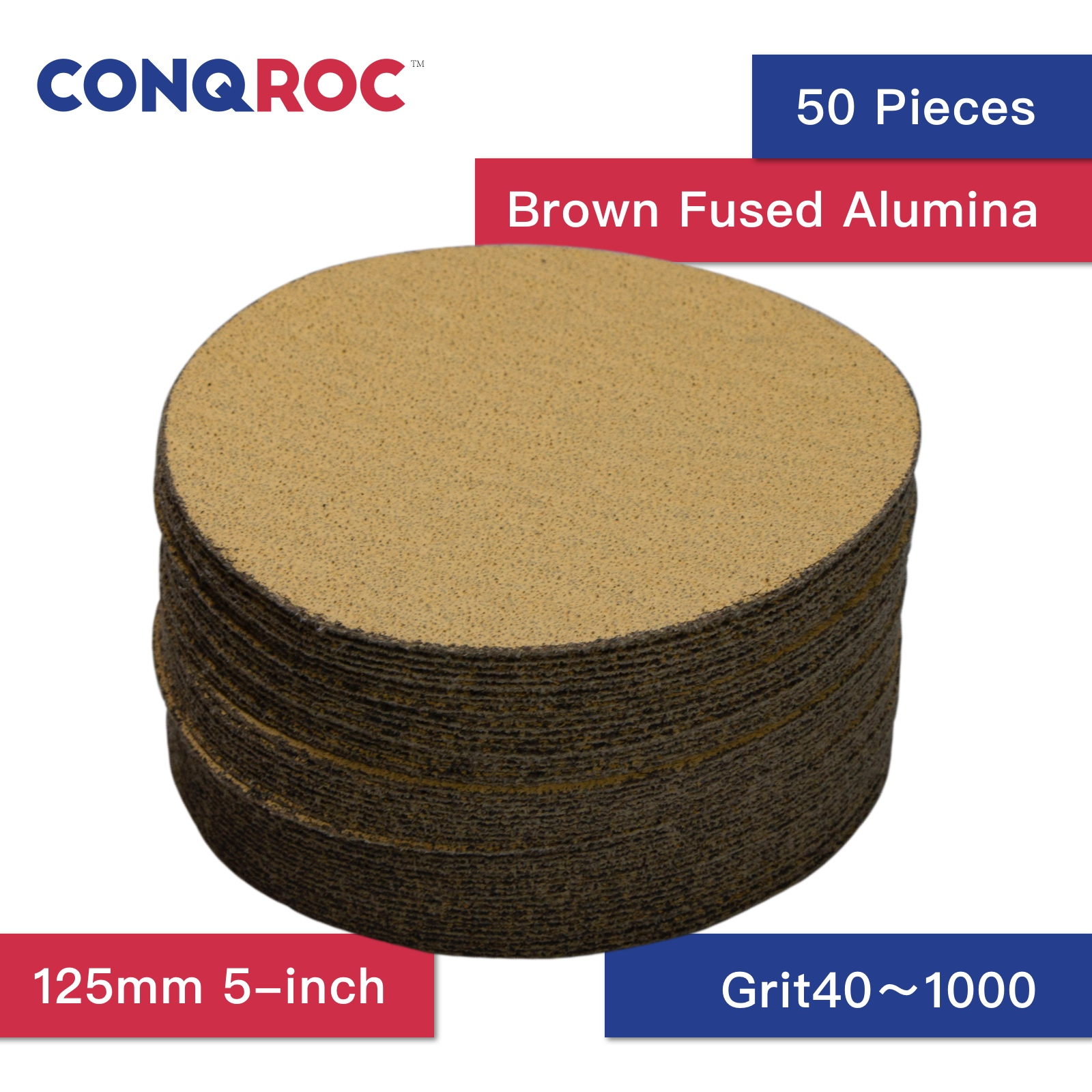 50 Pieces 125mm 5-inch Dry Sanding Discs Yellow Sanding Paper Hook And Loop Sandpaper For Wood Car Metal Polishing