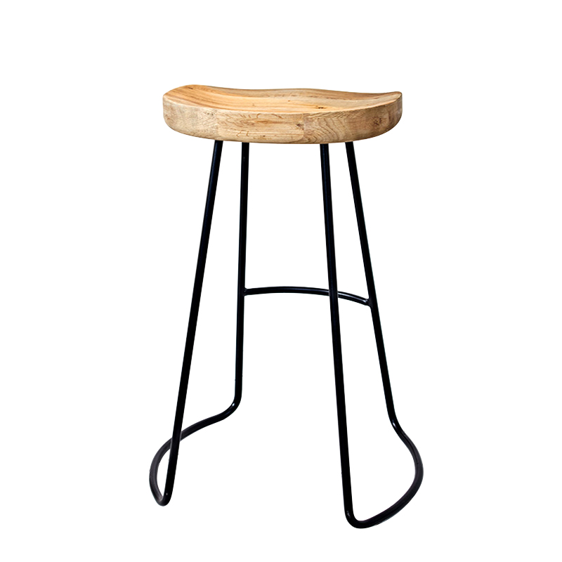 H1 Solid Wood Bar Stool High Iron Wrought Iron Stool Modern Minimalist Fashion Creative Home Living Room Leisure Bar Stool