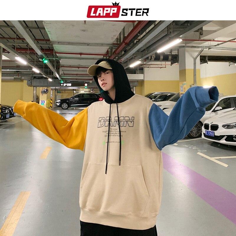 LAPPSTER Men Streetwear Patchwork Fleece Hoodies 2020 Mens Hip Hop Oversized Hoodie Male Korean Harajuku Hooded Hoodie Plus Size