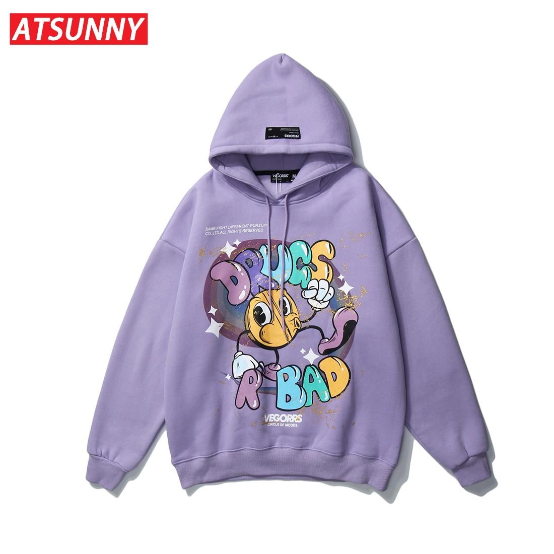 ATSUNNY Oversized Hip Hop Hoodie Sweatshirt Streetwear Harajuku Hoodie Pullover Autumn Cotton Cartoon Anime Drugs R Bad Hoodie