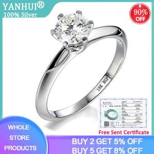 18K Gold Rings Wedding-Ring 925-Jewelry Gemstone Silver 1-Carat Natural Women Zirconia