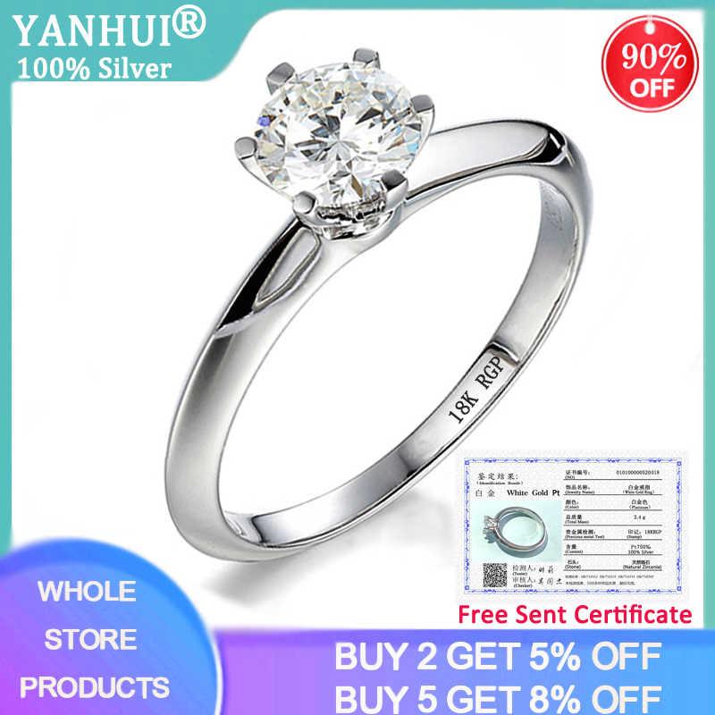 98% הנחה! יש תעודת 1 קרט נדל טבעי Zirconia חן חתונת טבעת כסף 925 תכשיטי 18K זהב טבעות לנשים מתנה