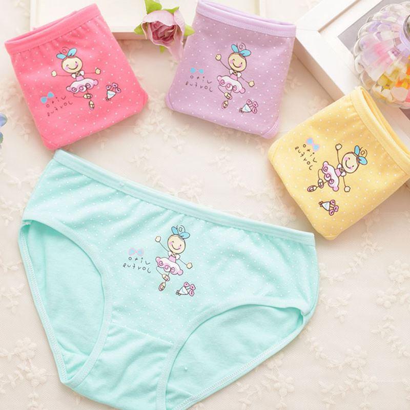 4Pcs/Lot Girls Panties Baby Cotton Underwear Cute Underpants Girl Lace Teenage Cute Cartoon Kids Panties Children Short Briefs