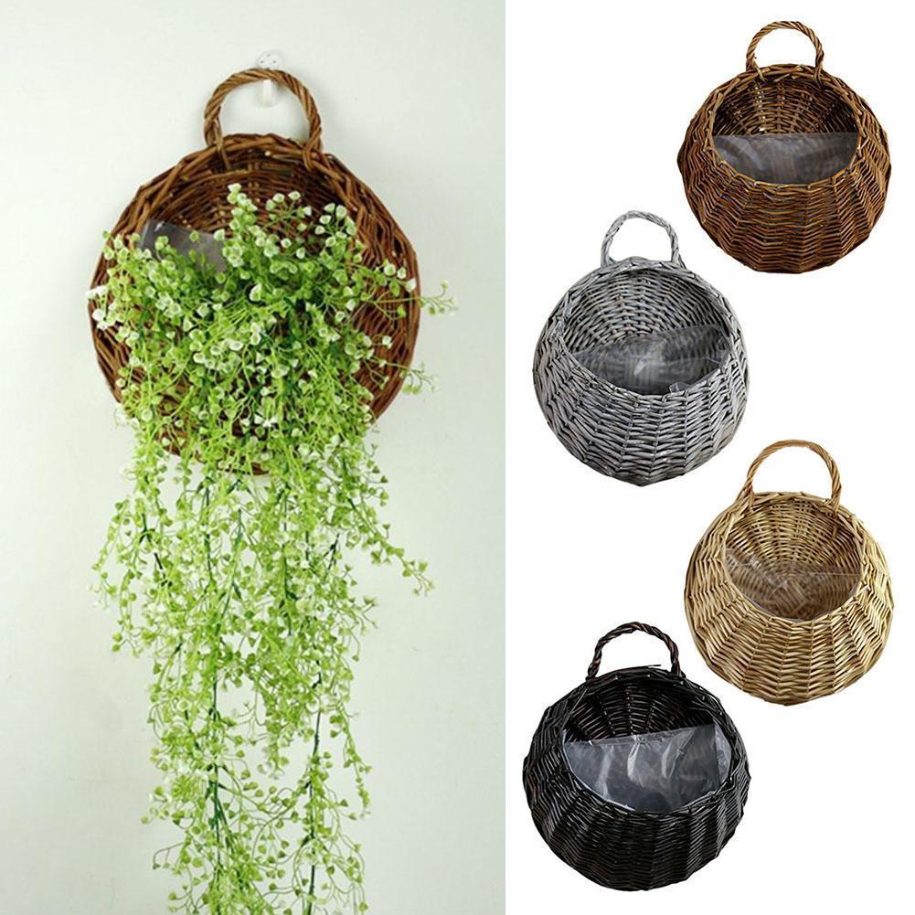Garden Wall-mounted Flower Basket Large Size Handmade Rattan Flower Basket Rustic Wicker Flowerpot Birds Nest Hanging Pot Q8Y7