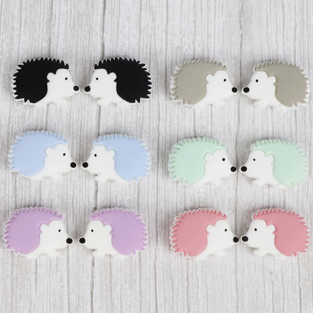 10Pcs/lot Mini Hedgehog  Silicone Baby Teether Beads BPA Free Newborn Bitting Accessories DIY Infant Teething