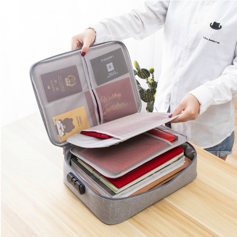 DIHFXX Multi-functional Briefcase Cationic Document Package Home ID Card Passport Sorting Password Lock Package Handbag