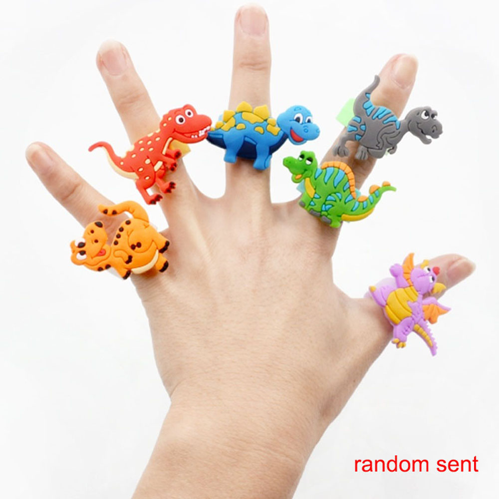 6pcs Flexible Colorful Cartoon Dinosaur Party Decoration Birthday Party Decorations Kids Baby Rubber Ring Tropical Jungle Gift