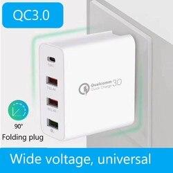 48W szybka ładowarka QC3.0 ładowarka PD cztery port typu c ładowarka inteligentny podróży telefon komórkowy ładowarka US 2.4A Flash ładowania w Ładowarki do telefonów komórkowych od Telefony komórkowe i telekomunikacja na