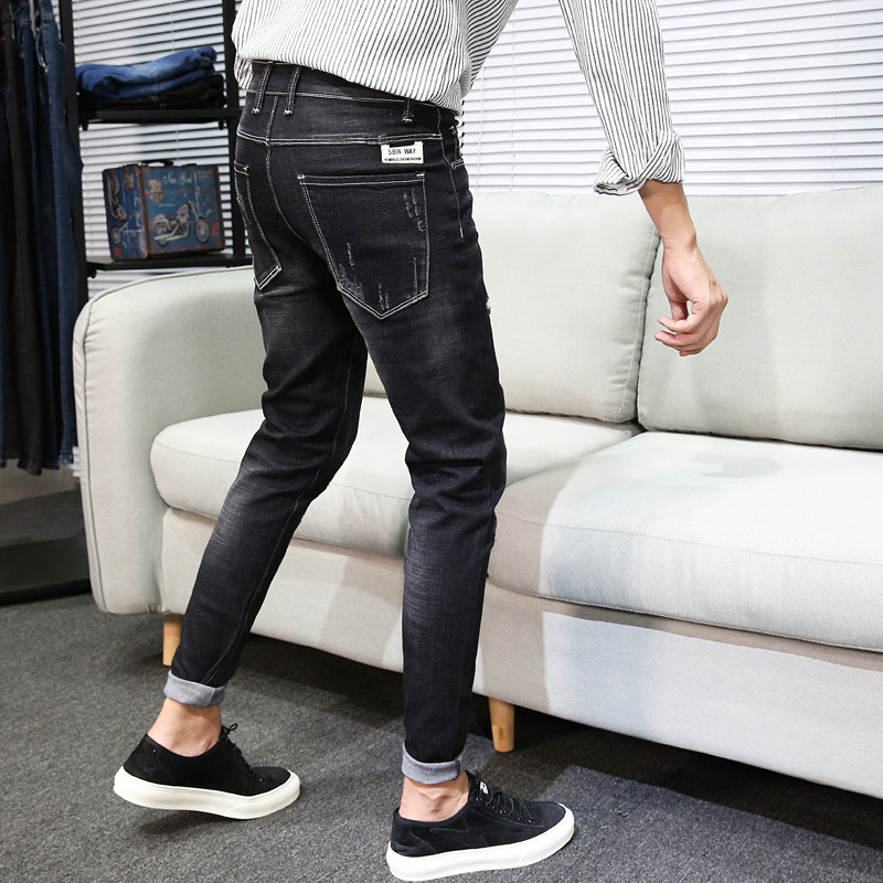 2018 New Style Summer Thin Section Jeans Men Slim Fit Korean-style Trend Skinny BOY'S Spring And Autumn Casual Trousers