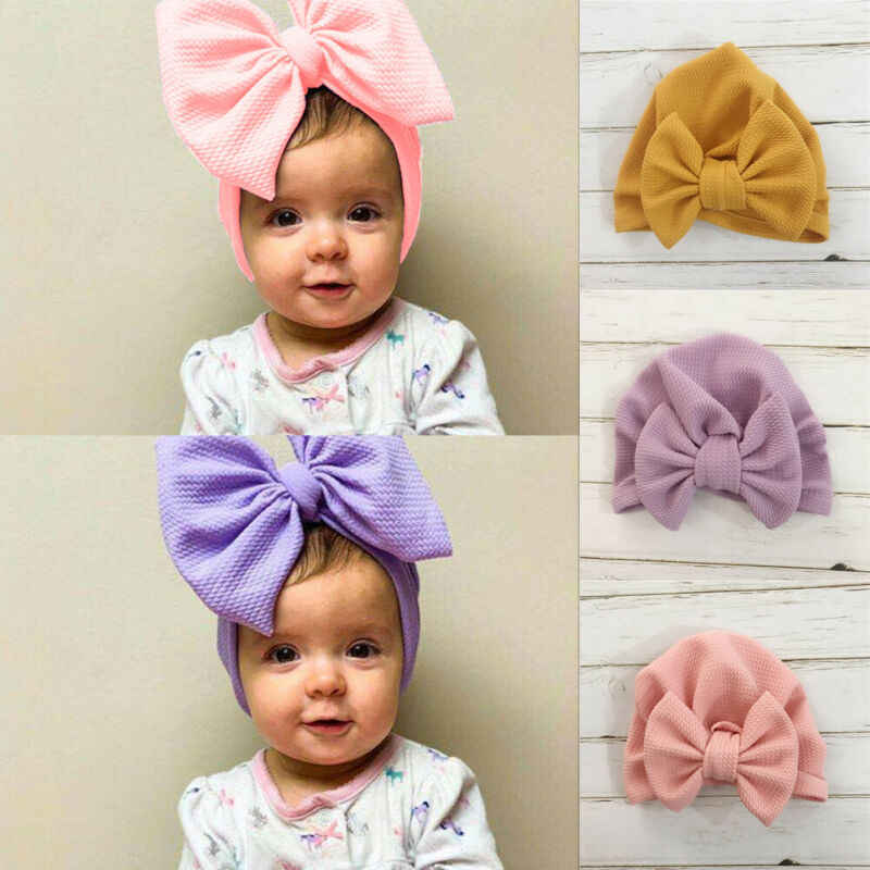 0-24M Winter Autumn Baby Girls Hat Big Bow Cotton Wool Knitted Thick Warm Baby Hat Kids Newbworn Bonnet Cap Beanie for Girls