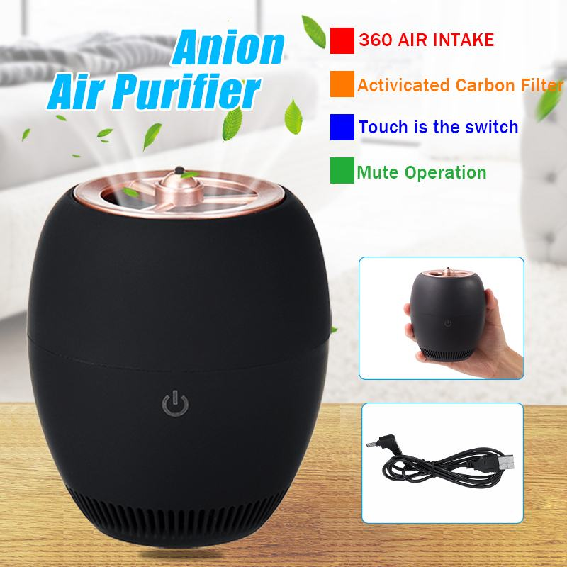 USB Car Air Purifier Negative Ion Black Deodorant Smoke Formaldehyde Haze PM2.5 Negative Ion Generator for Car Home Office Use
