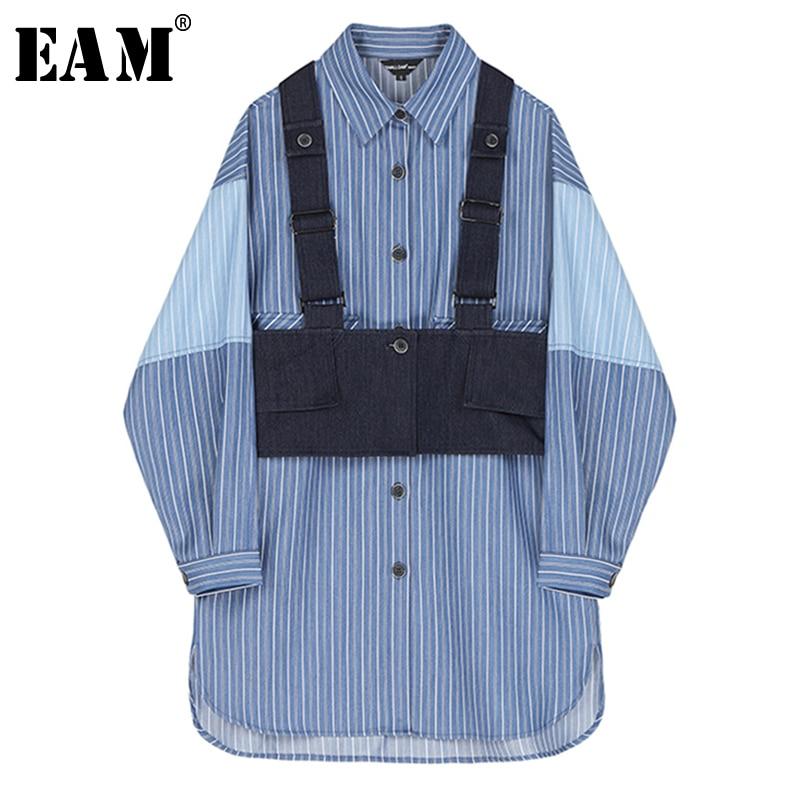 [EAM] Women Blue Striped Split Two Piece Shirt Dress New Lapel Long Sleeve Loose Fit Fashion Tide Spring Autumn 2020 1S385