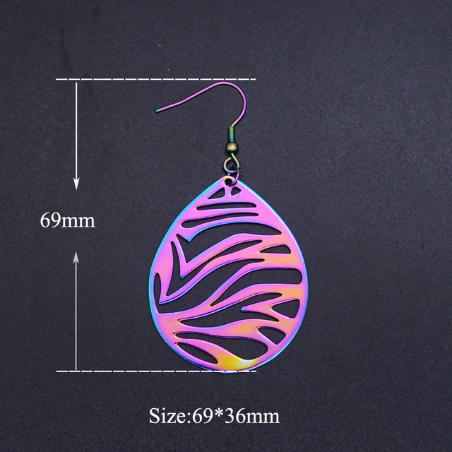 Super Unique Rainbow Color Stainless Steel Fashion Art Deco Drop Earring for Women Trendy Jewelry Party Jewelry Earring