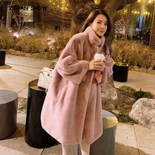 Coat Jacket Faux-Fur Pink Black Outwear Warm-Stand-Collar Oversize Long-Sleeve Women Fur