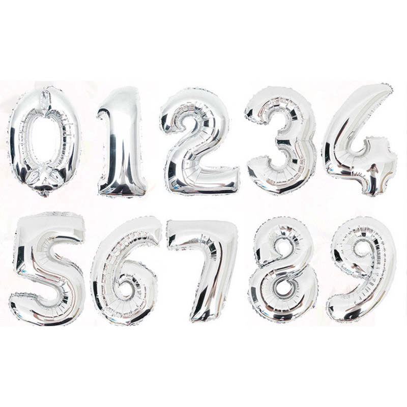 Number Balloons 16 Inch Baby Shower Helium Foil Ballon 0-9 Birthday Wedding Engagement Party Decorations Kid Baloons Birthday