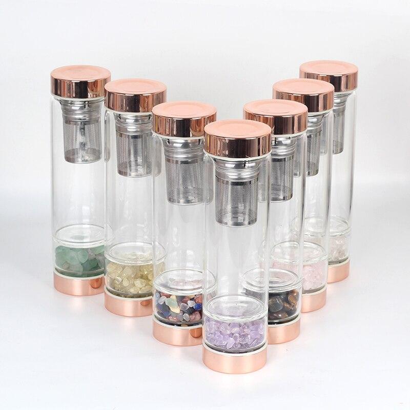 Bouteille d'eau en verre cristal de Quartz naturel en gros logo personnalisé Elixir eau guérison cristal pierre rose bouteille en or