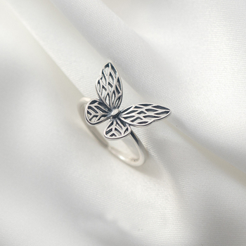 100% Real 925 Sterling Silver Butterfly Open Rings Vintage Hollow Butterfly Adjustable Rings for Women Girls