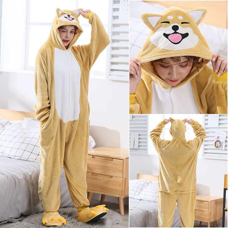Akita Dog Kigurumi Women Girl Onesie Cute Animal Cartoon Shiba Inu Overall Winter Warm Soft Flannel Suit Home Wear Unisex 2019
