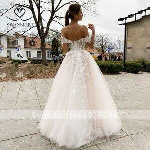 Image 2 - SWANSKIRT Sweetheart 3D Flowers Wedding Dress Romantic Appliques A Line Illusion Princess Vestido de novia SA02 Bridal Gown