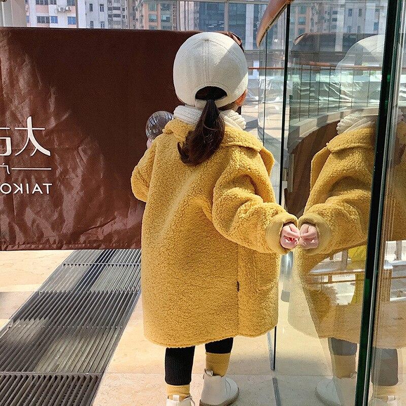 Hot Sale Girl's Coat Deer Leather Velvet Plus Lamb Velvet One-body Coat Winter Wear Children's Clothing Baby Girl Long Jacket 2