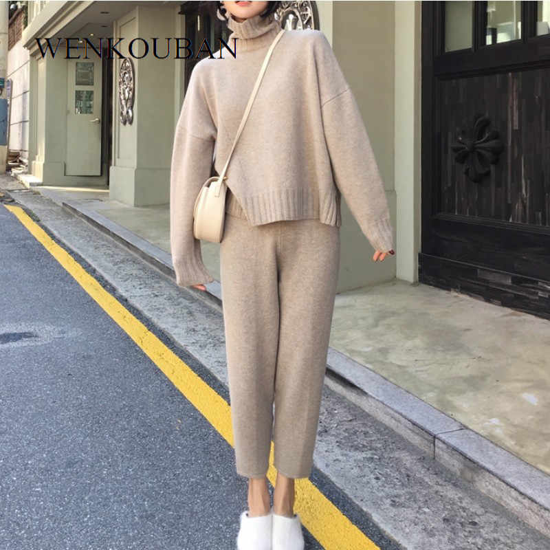 Autumn Winter 2 Pieces Set Women knitted Tracksuit Pullover Turtleneck Female Sweater Pant Ladies Loose Jumper and Pants Set