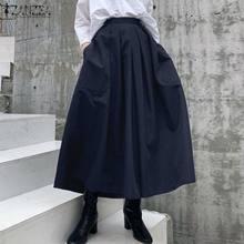 ZANZEA – Pantalon plissé à jambes larges pour femmes, culotte élégante, couleur unie, taille haute, Palazzo 5XL 7, été