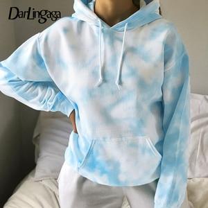 Darlingaga Streetwear Tie Dye Loose Hoodies Women Pullover Fashion Pockets Autumn Winter Sweatshirt Clothes Hoodie 2020 Moletom
