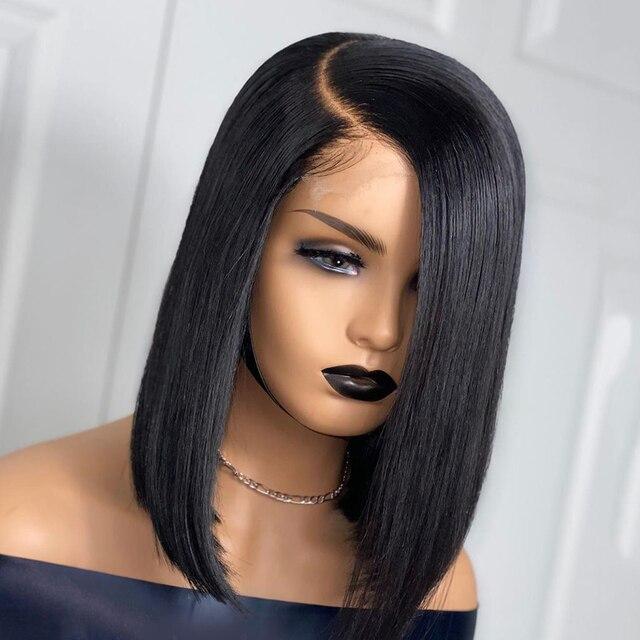 Peruka z krótkim bobem koronki przodu peruki z ludzkich włosów 100% brazylijski Remy włosy 150% gęstości dla kobiety pre-oskubane bielone węzłów zamknięcie peruka