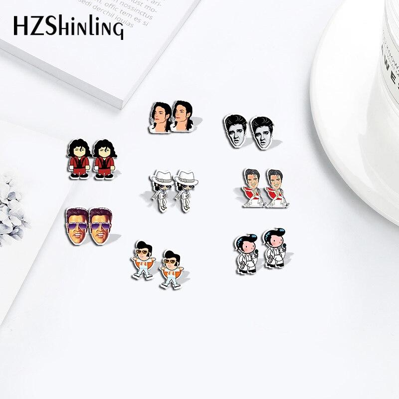 Cartoon Elvis MJ Cute Pattern Charm Acrylic Earrings MichaelJackson Shrinks Dinks Earrings Resin Epoxy Handmade Crafts Jewelry