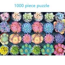 Rompecabezas de plantas suculentas 1000 pieza niños adultos rompecabezas de vacaciones de juego con diseño de manual capacidad educativo juguete may21